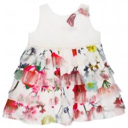 Vestido Niña Volantes Rosas & Flecos Crudo