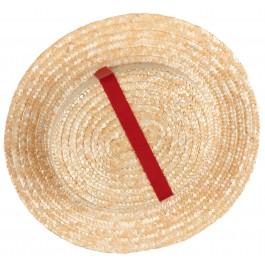 Sombrero Niña Beige & Cinta Grosgrain Rojo