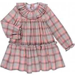 Vestido Niña Cuadros Gris & Rosa Colección Pink Lady