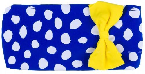 Dadati Turbante Lunares Azules & Blancos con Lacito Amarillo