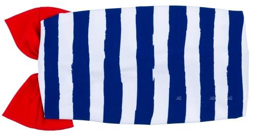Dadati Turbante Rayas Azul & Lazo Rojo