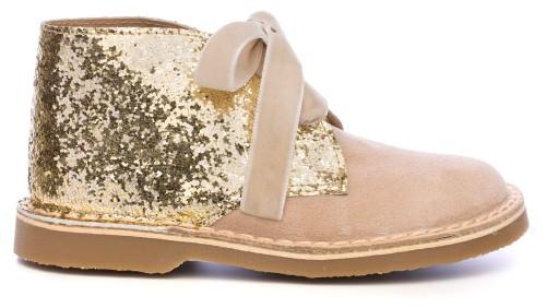 Rochy Botines Piel Serraje & Glitter Beige con Lazo Terciopelo