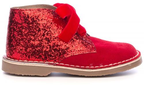Rochy Botines Piel Serraje & Glitter Rojo con Lazo Terciopelo