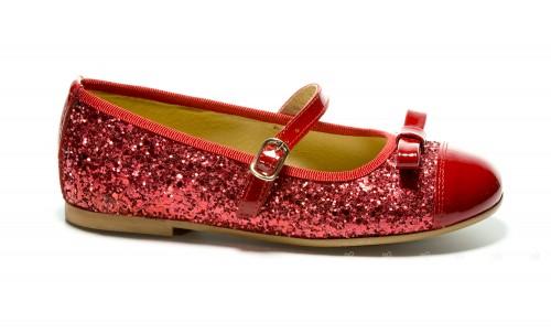 Merceditas de charol y glitter rojo