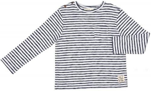 Camiseta Felpa Manga Larga Rayas Marino & Blanco