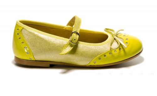 Merceditas de charol y piel metalizada amarillo