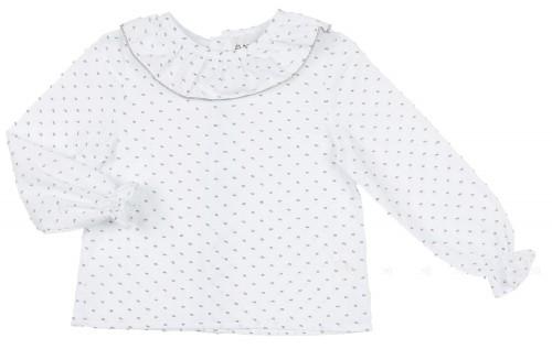Blusa Plumeti Cuello Volante Blanco & Gris
