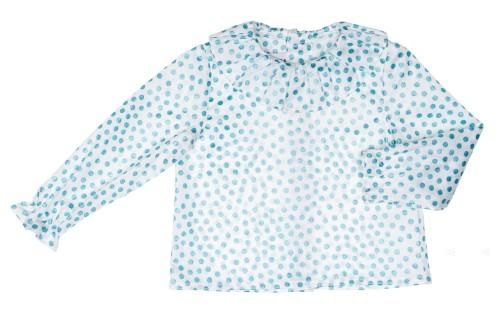 Blusa Cuello Volante Topitos Glitter Azul