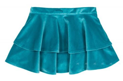 Falda Isabella Volantes Terciopelo Azul