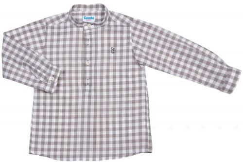 Cocote Camisa Niño Algodón Cuadros Vichy Gris