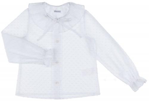 Ancar Camisa Niña Cuello Volante Partido Plumeti Blanco
