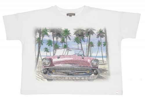 Top Algodón Estampado Chevrolet Rosa & Cristales