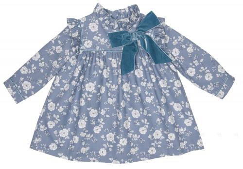 Vestido Estampado Floral & Lazo Terciopelo Azul