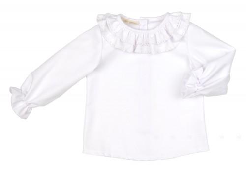 Camisa Algodón Cuelllo Doble Volante & Puntilla Blanco
