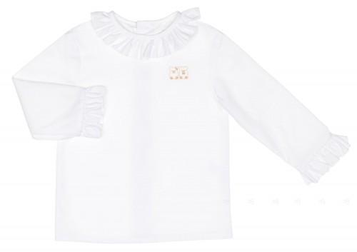 Camisa Algodón Cuelllo Volante Blanco