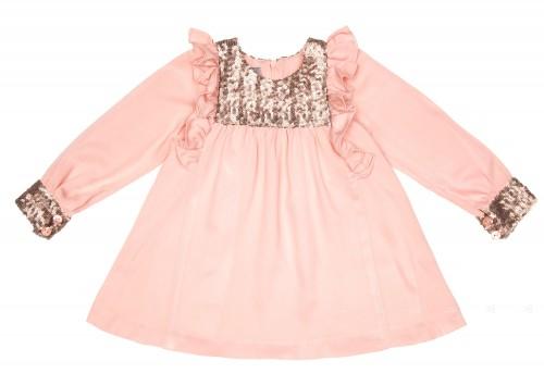 Vestido Volantitos & Lentejuelas Viscosa Rosa Empolvado