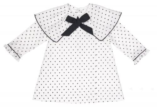 Vestido Cuello Capita Estampado Corazones Blanco & Negro