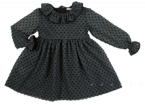 Vestido plumeti gris & negro