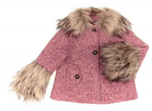 Abrigo Jaspeado Rosa Con Cuello Removible & Puños Pelo