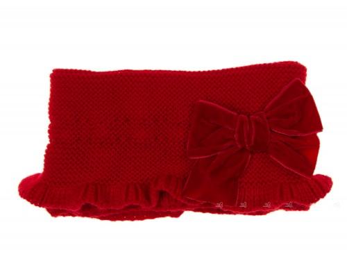 Cuello Punto Volantes & Lazo Terciopelo Rojo