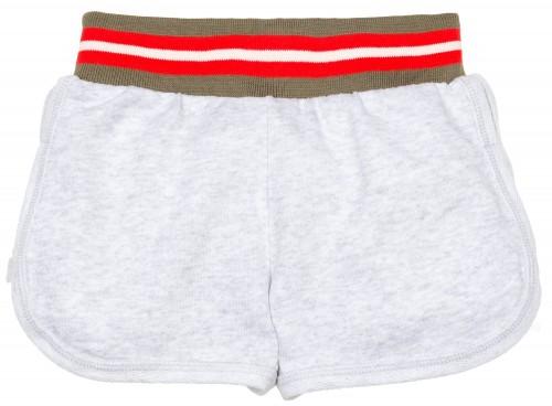 Short Felpa Gris & Cintura Elástica Rayas Verde Rojo