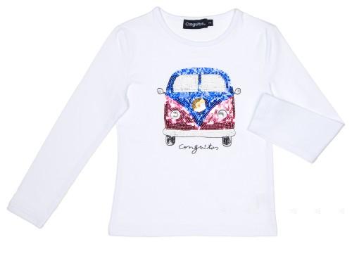 Camiseta Lentejuelas Decorativas de la Mítica Furgoneta de Volkswagen