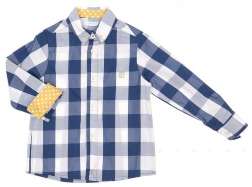 Camisa Cuadros Azul & Topitos Mostaza