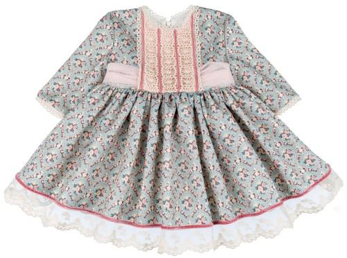 Chari Sierra Vestido Niña Vuelo Estampado Floral Verde & Rosa