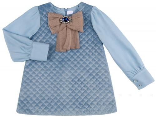 Rochy Vestido Niña Terciopelo Rombos Azul & Lazo Pedrería Camel