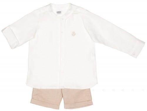 Conjunto Niño Camisa Blanco & Short Piedra