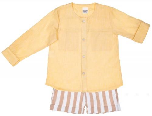 Conjunto Niño Camisa Amarillo & Short Rayas Chocolate