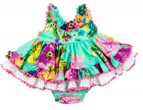 Vestido & Braguita estampado floral verde esmeralda