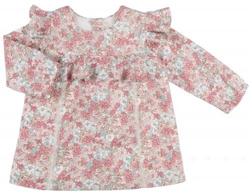 Rochy Vestido Niña Liberty Rosa & Canesú Volante