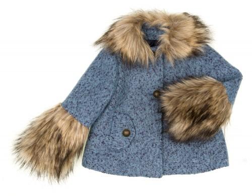 Abrigo Jaspeado Azul Con Cuello Removible & Puños Pelo