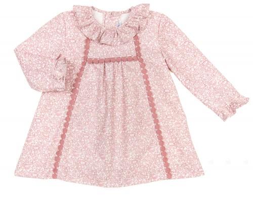 Vestido Estampado & Cuello Bebe Rosa Palo