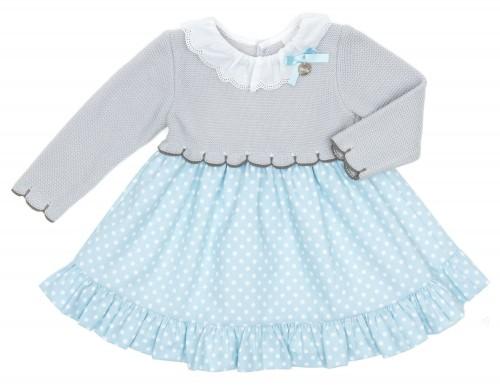 Vestido Bebé Combinado Gris & Topitos Celeste