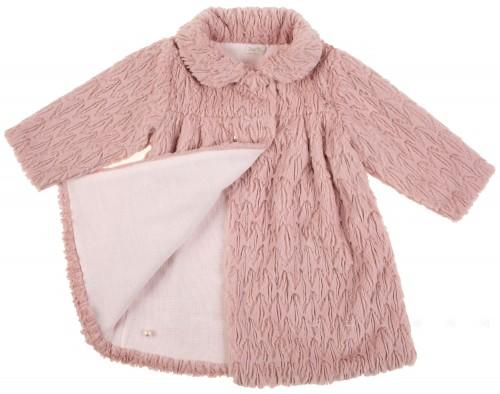 Abrigo pelo y punto rosa