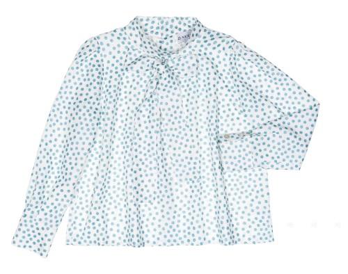 Blusa Anna Lazada Cuello Topitos Glitter Azul