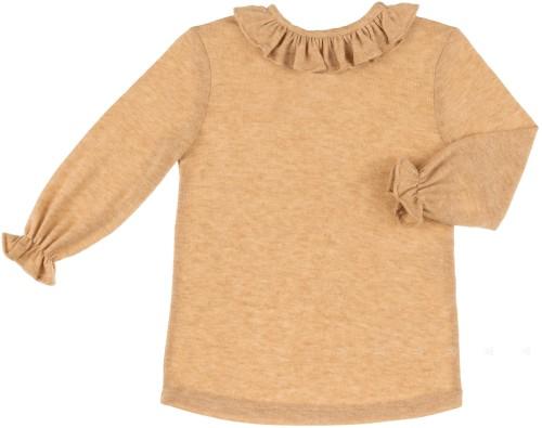 Camiseta Niña Punto & Cuello Volante Mostaza