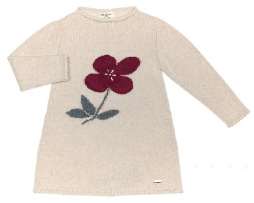 Vestido Punto Beige & Flor Granate