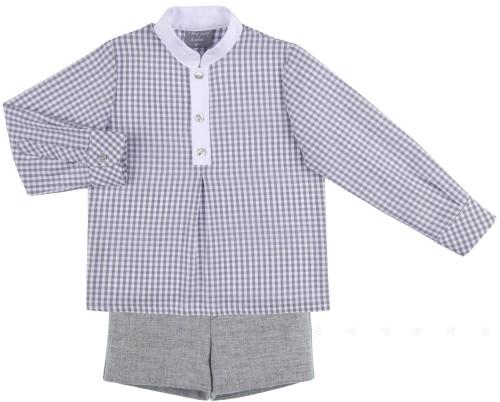 Mon Petit Bonbon Conjunto Niño Camisa Cuadros Vichy & Short Algodón Gris