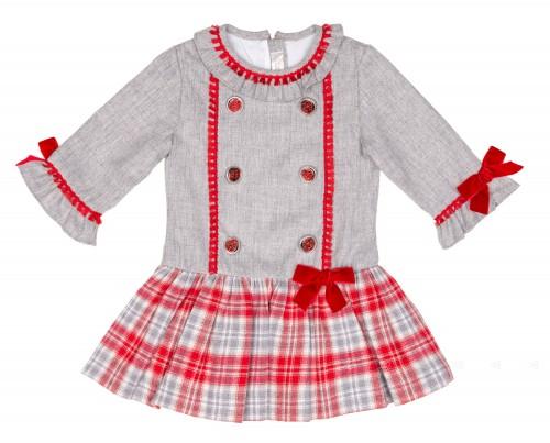 Vestido Cuerpo Gris & Falda Cuadros Rojo