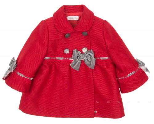 Abrigo Bebé Paño Rojo & Lazos Terciopelo Gris