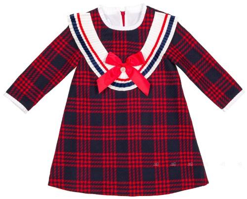 Foque Vestido College Cuadros Rojo & Volante Plisado
