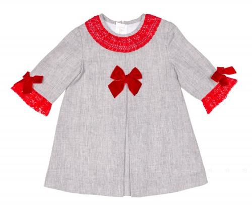 Vestido Evasé Gris & Puntilla Rojo