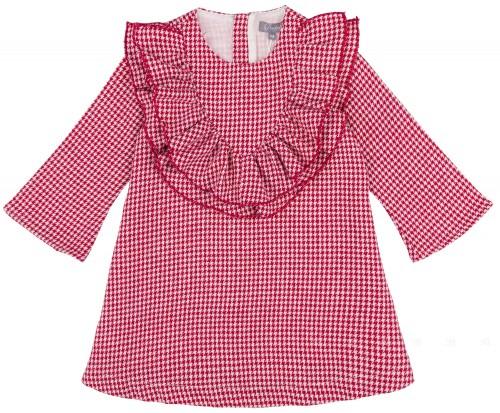 Vestido Niña Pata de Gallo Rojo & Volantes