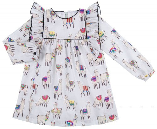Mon Petit Bonbon Vestido Niña Estampado Llamas Gris