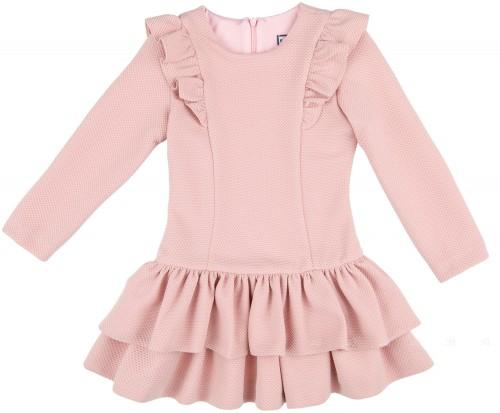Nekenia Vestido Punto Piqué Elástico Volantes Rosa Empolvado