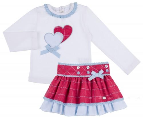 Dolce Petit Conjunto Niña Camiseta Corazones & Falda Cuadros Fresa