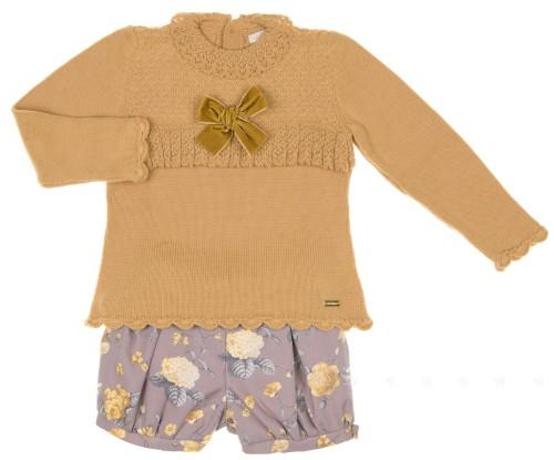 Conjunto Jersey Mostaza & Short Floral Volantes